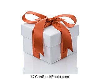 white gift box with orange ribbon bow