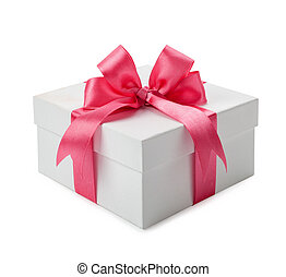 White gift box with pink bow isolated