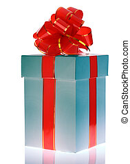 White gift box with red bow.