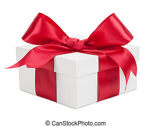 White gift box with red ribbon and bow isolated on a white background