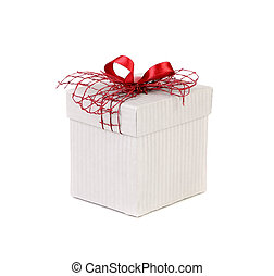 White gift box with red ribbon bow.