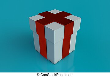 White gift box with red ribbon bow isolated on aqua blue background.