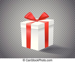 White gift box with red ribbon on transparent background vector illustration