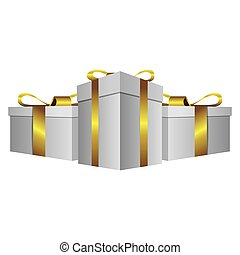 white gift boxes with gold ribbon icon