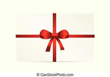 white gift card with a red bow isolated on white background