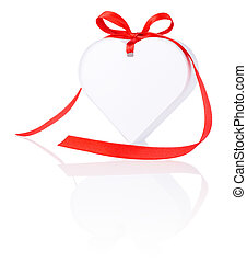 White gift in the form of heart with a bow of red ribbon Isolated on white background