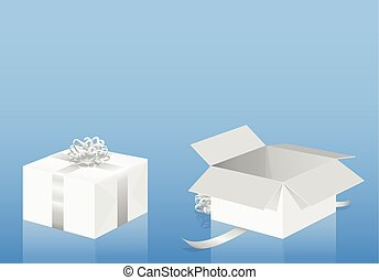 White Gift Package Wrapped Unwrapped Parcel