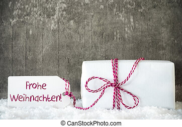 White Gift, Snow, Label, Frohe Weihnachten Means Merry Christmas