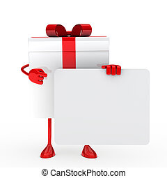 White gift whit billboard - White gift box shows on...