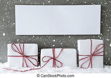 White Gift With Snowflakes, Copy Space