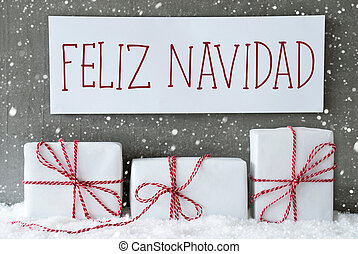 White Gift With Snowflakes, Feliz Navidad Means Merry Christmas