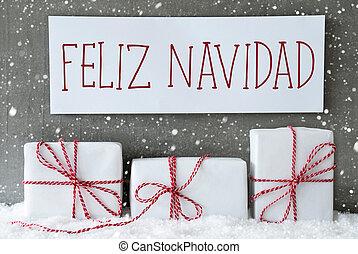 White Gift With Snowflakes, Feliz Navidad Means Merry Christmas