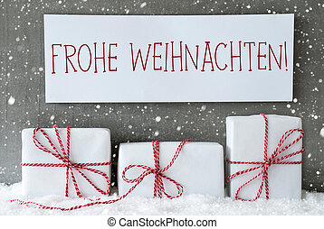 White Gift With Snowflakes, Frohe Weihnachten Means Merry Christmas