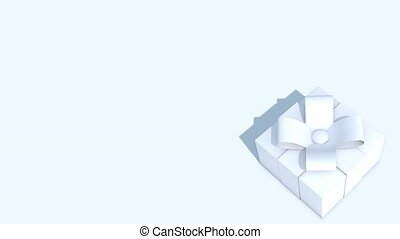 Three dimensional animation of a white gift box on a white background with copy space. Useful as a looping title frame for an invitation to an event. High definition loop ready 1080p.