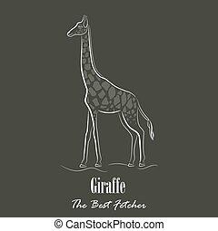 White Giraffe Silhouette Hand Drawing Digitally on the Green...