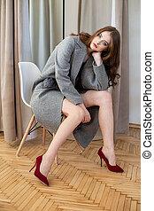 White girl model close-up portrait