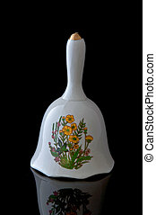 White Glass Bell With Flowers on Black Background