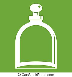 White glass bottle with perfume icon green