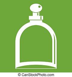 White glass bottle with perfume icon green