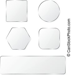 White glass buttons with chrome frame. Vector illustration