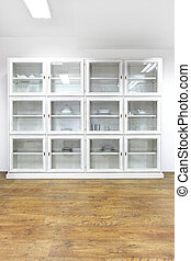 White glass cabinet - White cupboard display cabinet with...