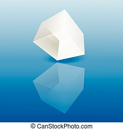 White glass cube on a smooth surface