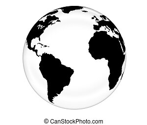 White Glass Globe - Glass like rendering of the globe.