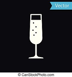 White Glass of champagne icon isolated on black background. Vector Illustration