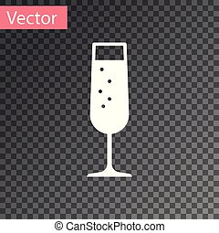 White Glass of champagne icon isolated on transparent background. Vector Illustration