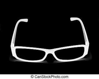 white glasses isolated on black background