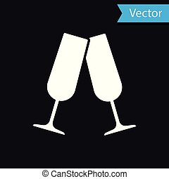 White Glasses of champagne icon isolated on black background. Vector Illustration