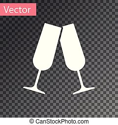 White Glasses of champagne icon isolated on transparent background. Vector Illustration