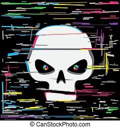 white glitch hacker skull