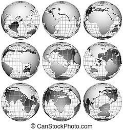 White globes. Icon set