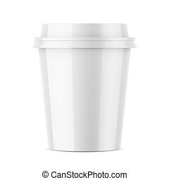 White glossy coffee cup template. - White glossy disposable...