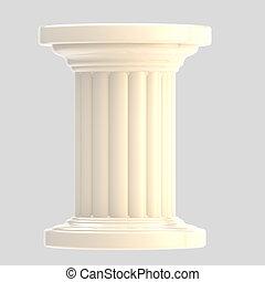White glossy column pillar isolated on grey