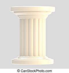 White glossy column pillar isolated on grey