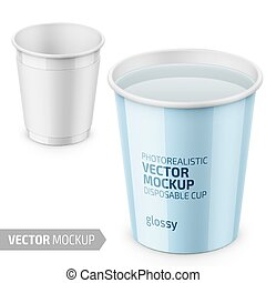 White glossy disposable cup template with label. - White...