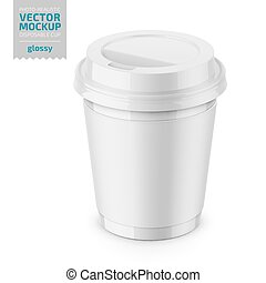 White glossy disposable cup with lid template. - White...