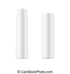 White glossy lip balm stick. Realistic packaging mockup...