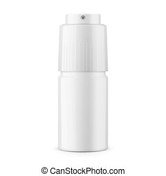 White glossy metal deodorant spray bottle. 40 ml. Realistic...