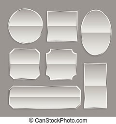 white glossy metal frame buttons with reflection