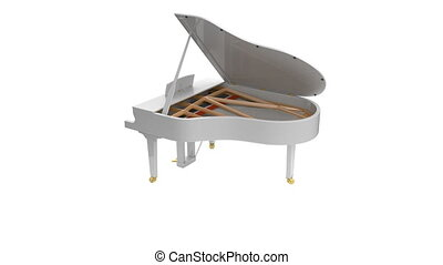 White glossy musical instrument - acoustic piano. - Grand...