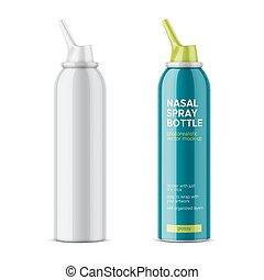 White glossy nasal spray bottle. - White glossy aluminum...