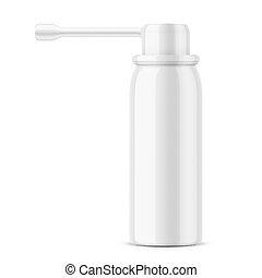 White glossy oral spray bottle. - White glossy aluminum...
