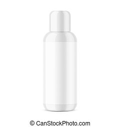 White glossy plastic cosmetic bottle template. - White...