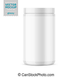 White glossy plastic jar with lid for powder.
