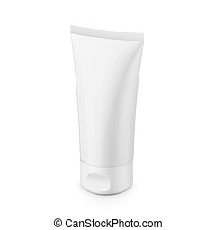 White glossy plastic tube for cosmetics
