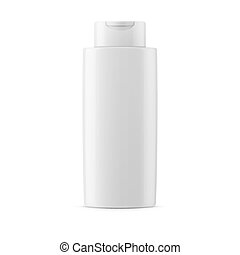 White glossy shampoo bottle template.