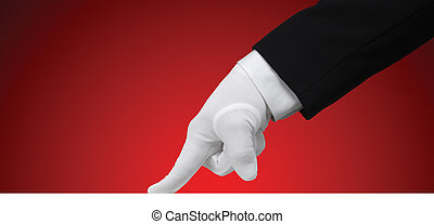 White glove running a finger across a white edge against a red background, isolated with a clipping path